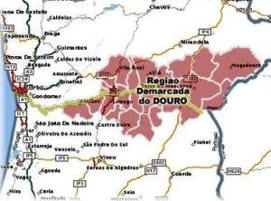 mapa da região do Douro