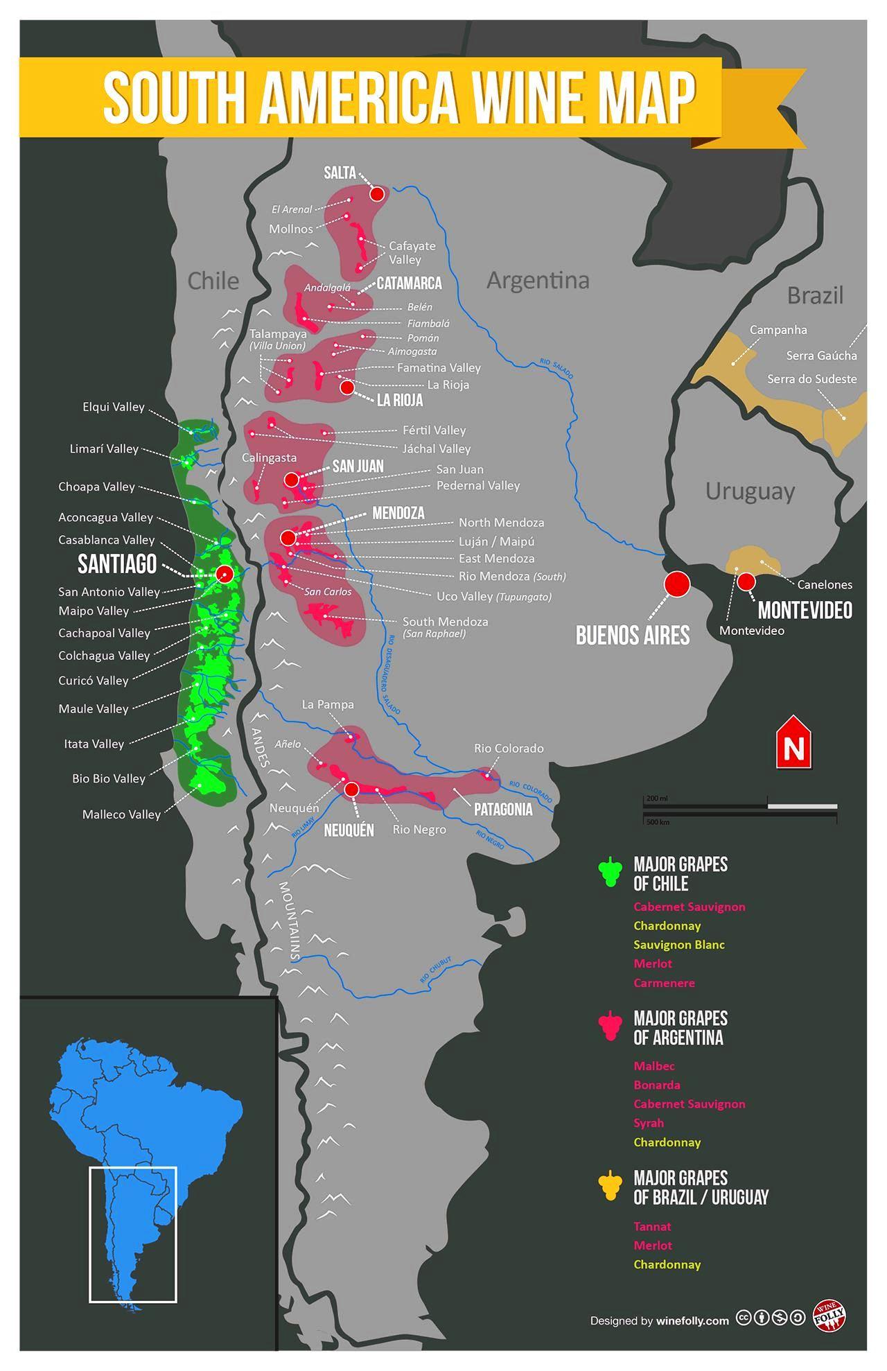 Wine Folly South America Wine Map