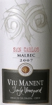 Viu Viu Manent_Single Vineyard Malbec San Carlos Bottle